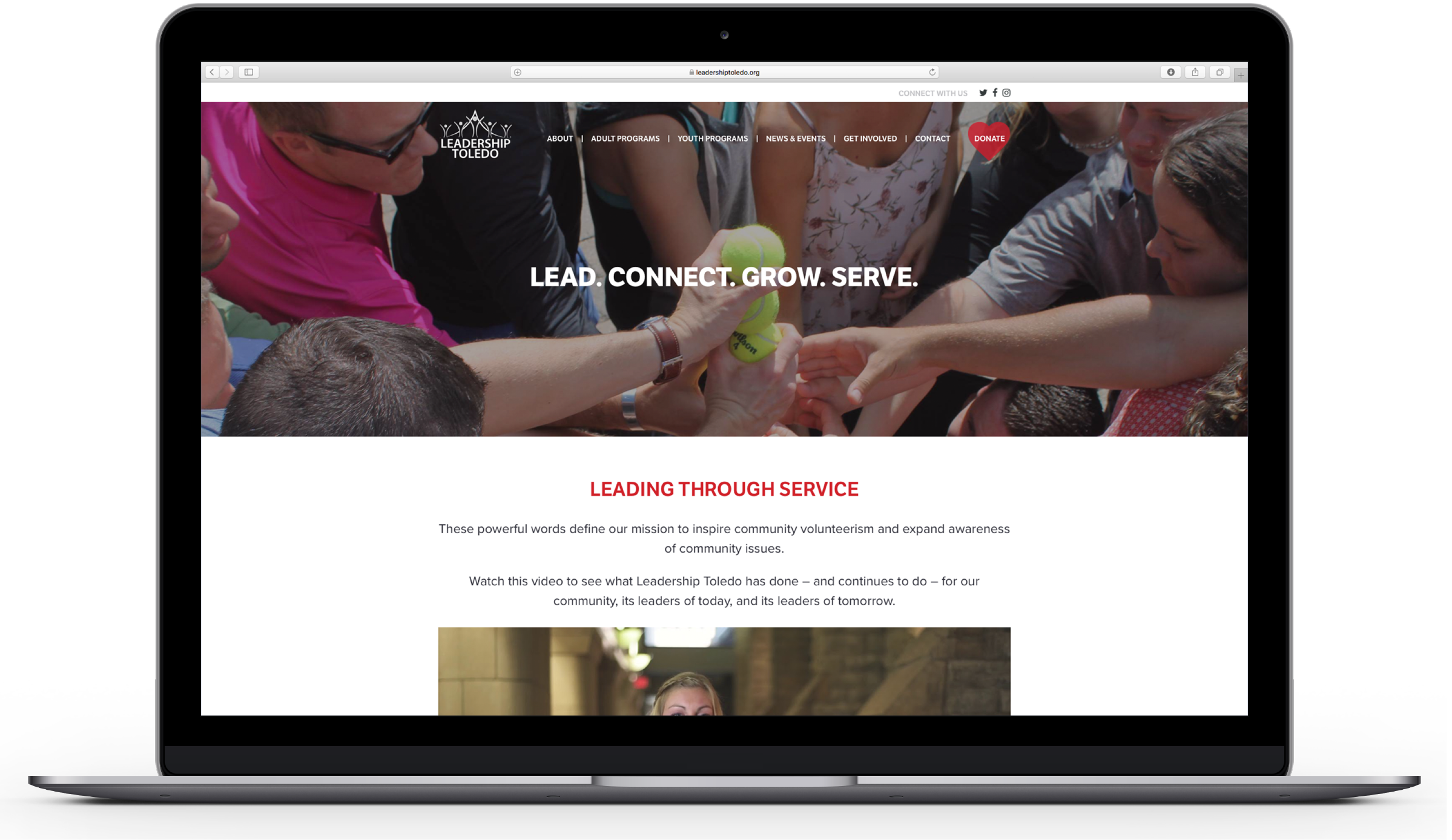 CG developed leadershiptoledo.com using many images that convey what their organization does—while also bringing a human element to the design.