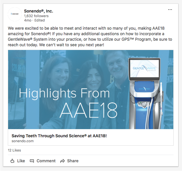 For Sonendo®'s participation at AAE, we created a LinkedIn post thanking their attendees.