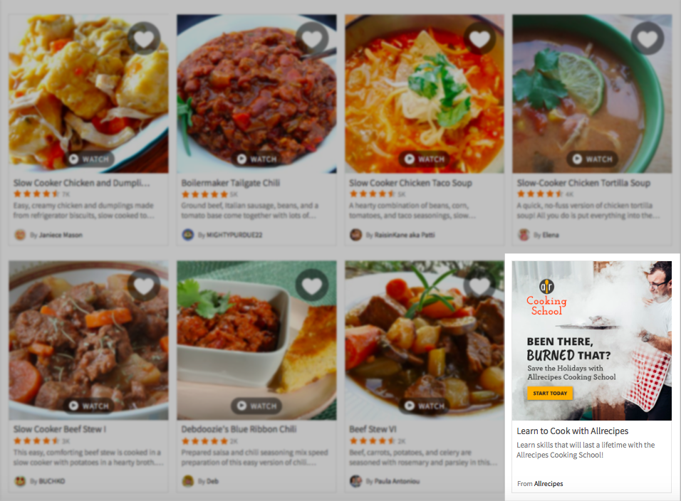 Allrecipes.com utilizes display ads as if they were part of the organic content, showcasing a cooking class, which is contextually relevant to the search results on the recipe website.