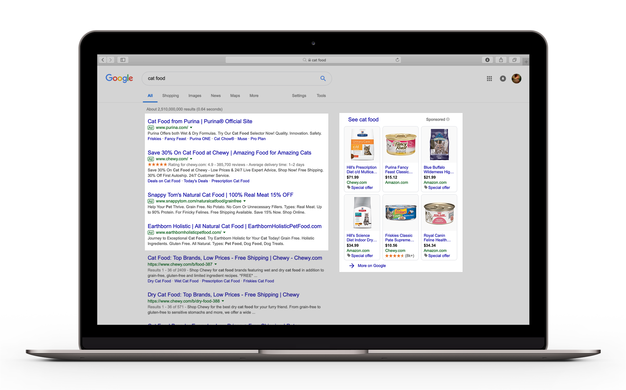 Paid search ads show above the organic results on a search engine such as Google and are marked as advertisements but are formatted to match the regular results, as shown when searching for cat food.