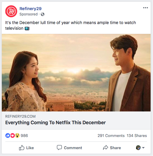 The media and entertainment company Refinery29 utilized native advertising to promote its blog as a Facebook post. This in-feed unit is marked as sponsored but gives users the ability to like, comment and share the ad.